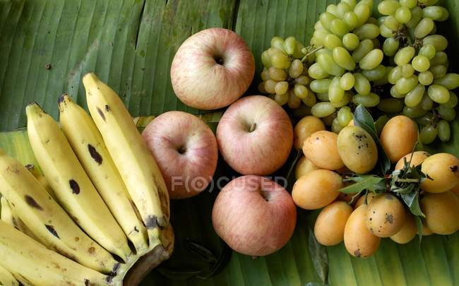 Fresh fruits on palm leaf — Stock Photo