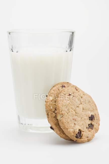 Vaso de leche con dos galletas - foto de stock