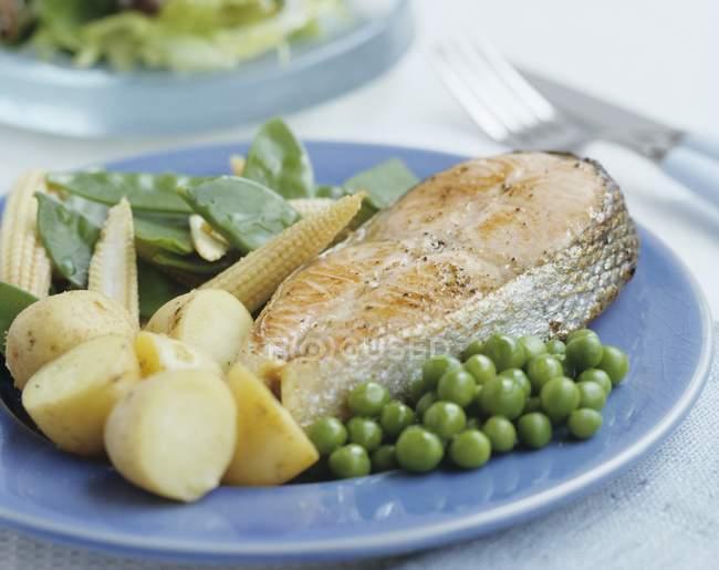 Lachssteak mit Gemüse — Stockfoto