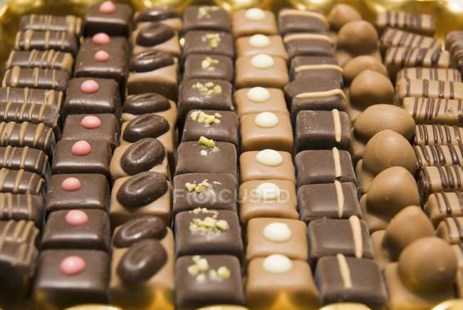 Різні шоколадні цукерки — стокове фото