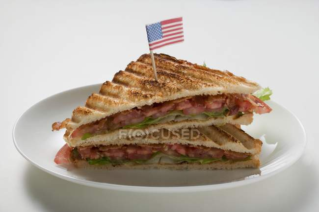 Крупним планом перегляд двох підсмаженого бутерброди з американським прапором — стокове фото