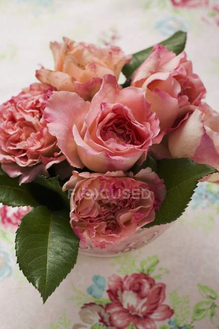 Elevated view of pink cut roses and leaves in vase — Stock Photo
