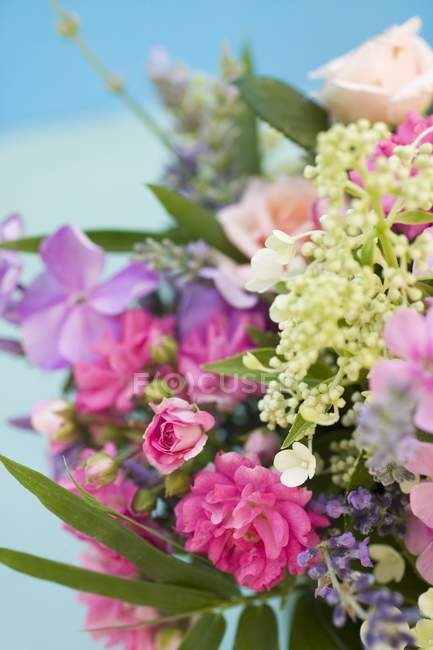 Closeup view of colorful bouquet of different flowers — Stock Photo