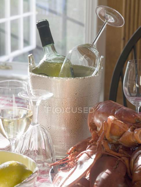 White wine bottle in ice bucket — Stock Photo