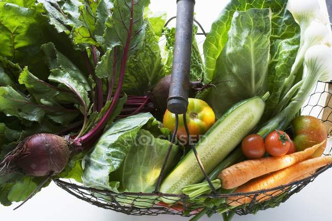 Verduras frescas en cesta - foto de stock