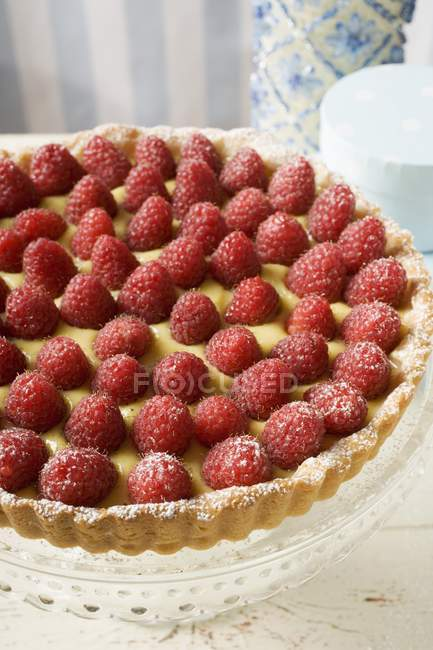 Малиновий пиріг з ванільним крем — стокове фото