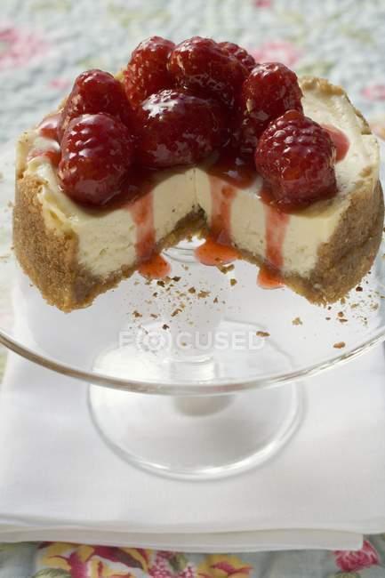 Raspberry cheesecake su basamento della torta — Foto stock