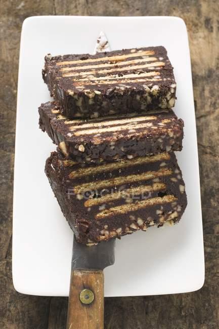 Torta de pan hecha de galletas - foto de stock
