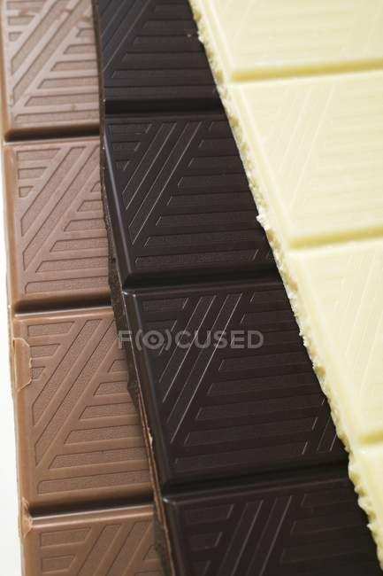 Різні бари шоколад — стокове фото