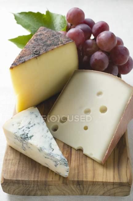 Сыр с красным виноградом — стоковое фото