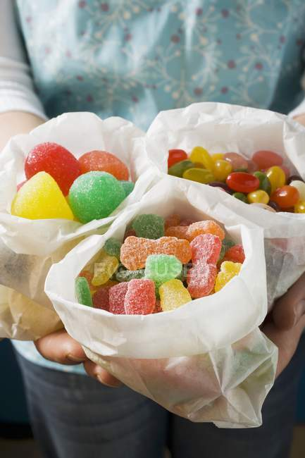 Paper bags of jelly sweets — Stock Photo
