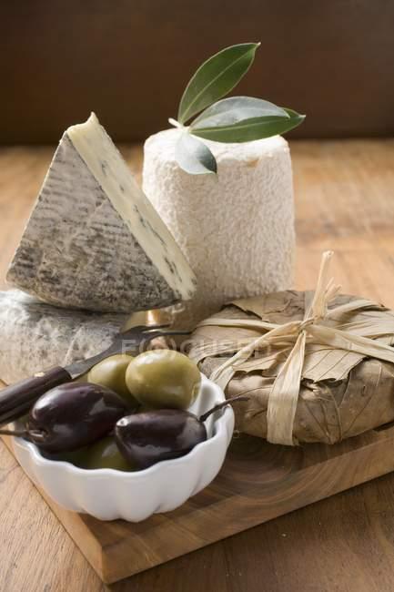 Fromage bleu et olives — Photo de stock