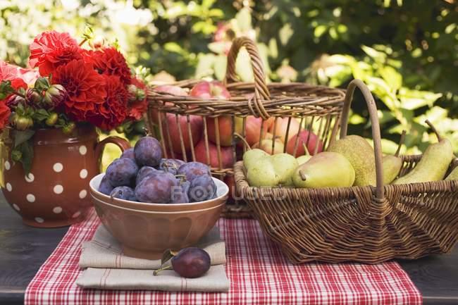 Ameixas em tigela com peras e maçãs — Fotografia de Stock