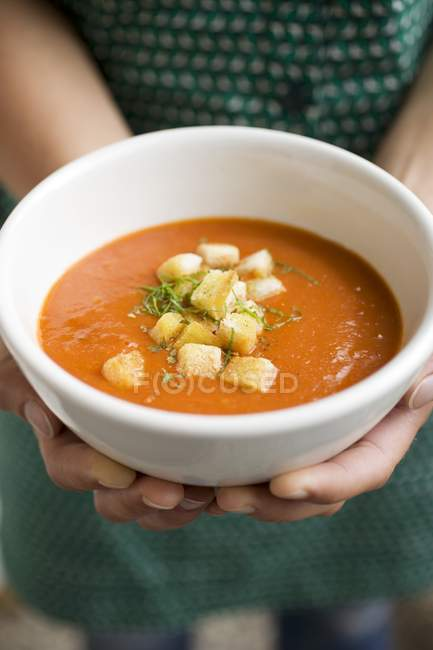 Hands holding bowl of tomato soup — Stock Photo