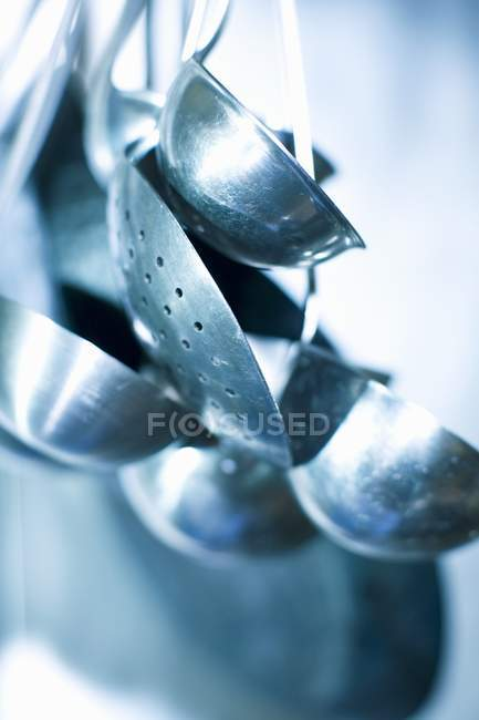 Closeup view of assorted skimmers and ladles — Stock Photo
