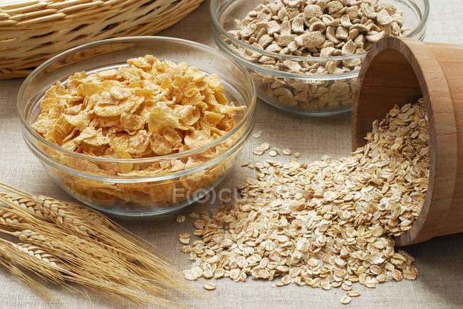 Cornflakes in glass bowl — Stock Photo