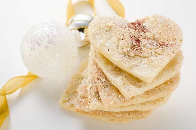 Mandel Herzen mit Zucker — Stockfoto