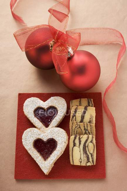 Stripy biscuits for Christmas — Stock Photo