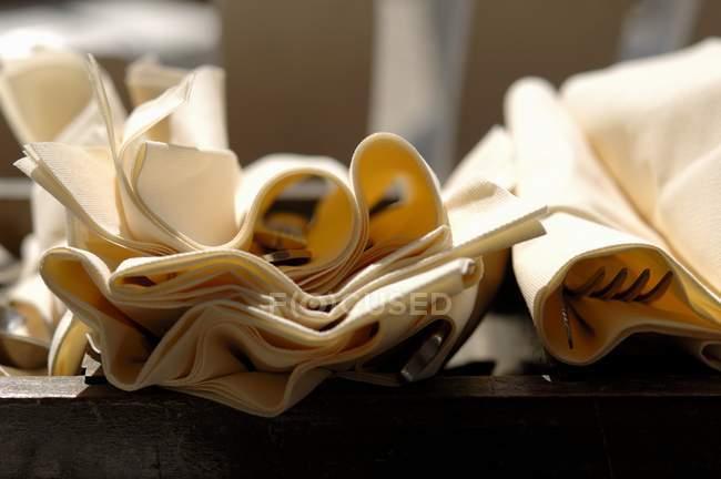 Closeup vista de guardanapos de tecido e talheres — Fotografia de Stock