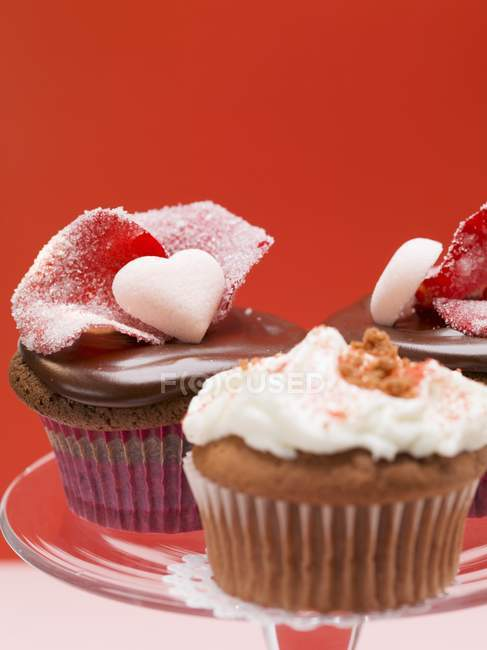 Assorted cupcakes for Valentines Day — Stock Photo