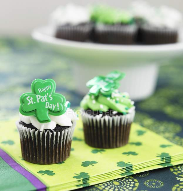 Cupcakes felizes St Patricks Day — Fotografia de Stock