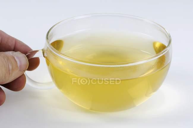 Main tenant du thé de souci — Photo de stock