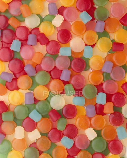 Top full-frame view of various gum drops — Stock Photo