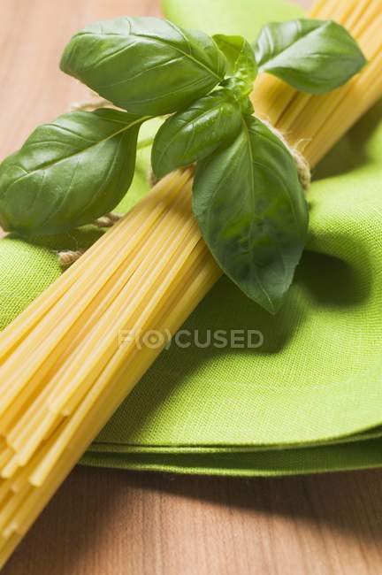 Bundle of spaghetti and basil — Stock Photo