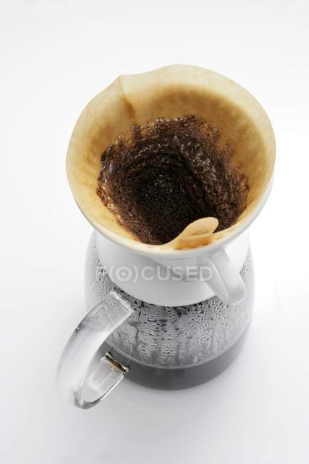 Filter coffee in glass coffee pot — Stock Photo