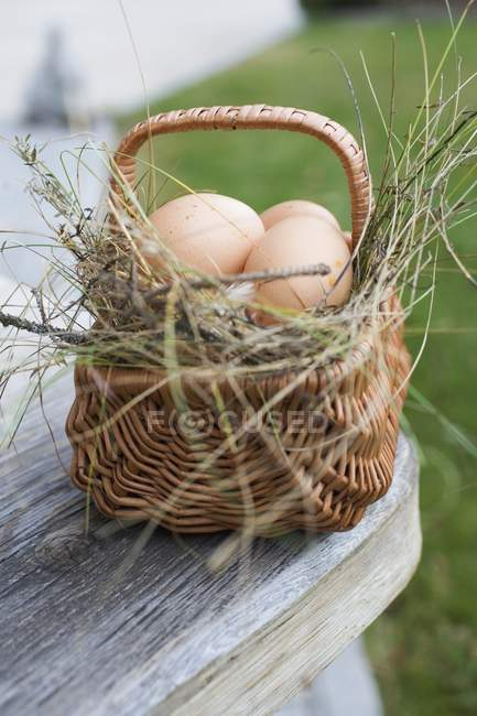Eggs in a basket outdoors — Stock Photo