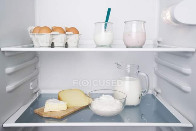 Un refrigerador abierto con productos lácteos y huevos - foto de stock