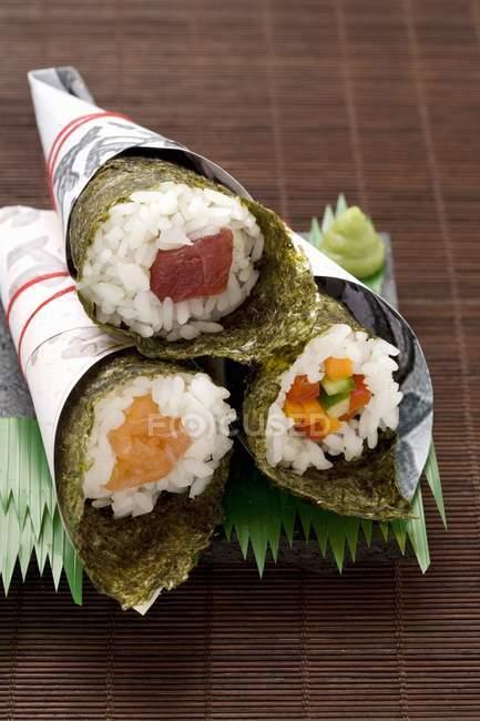 Temaki sushi with tuna — Stock Photo