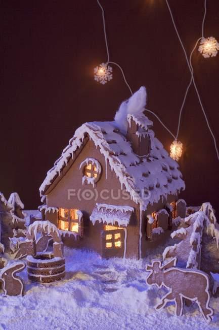 Пряники Будинок з освітленням — стокове фото