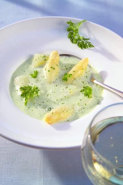Soupe aux asperges à la crème — Photo de stock