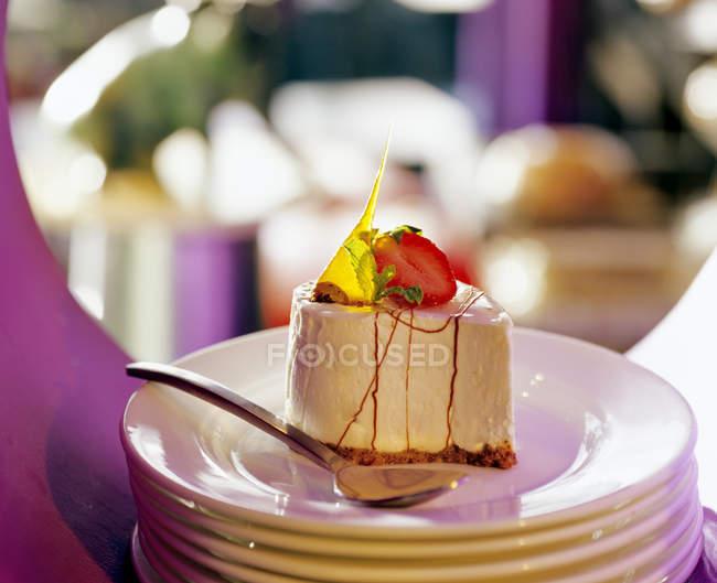 Décoré Petit gâteau au fromage — Photo de stock