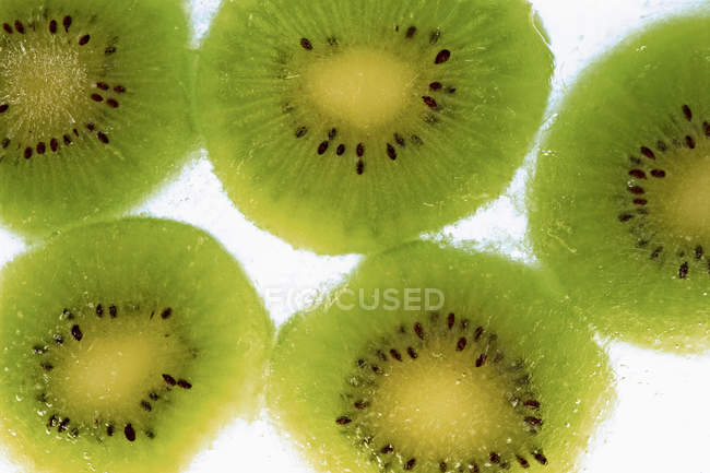Frozen kiwi fruit slices — Stock Photo