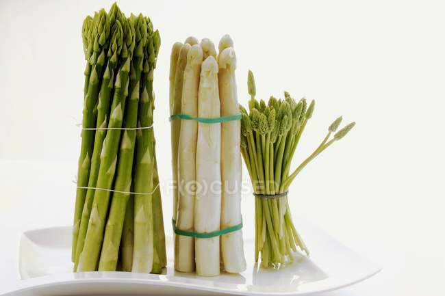Three sorts of asparagus — Stock Photo