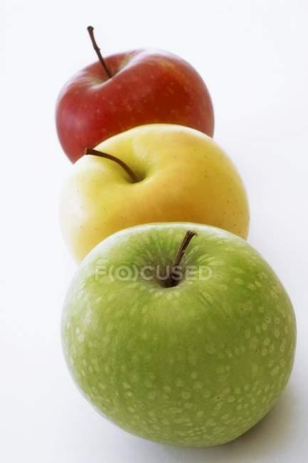 Три различных вида яблоки — стоковое фото
