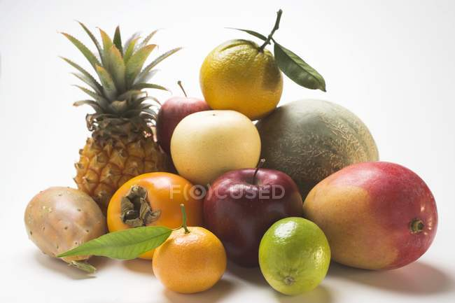 Closeup view of fresh fruits on white background — Stock Photo