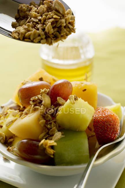 Muesli con frutas y copos de cereales - foto de stock