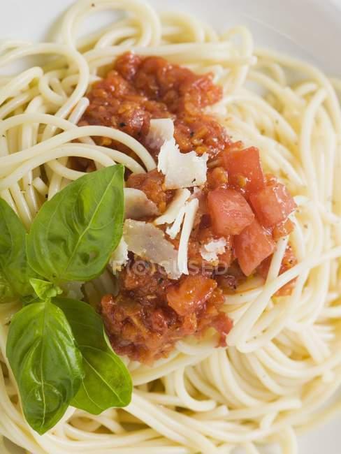 Spaghetti with tomato sauce and basil — Stock Photo