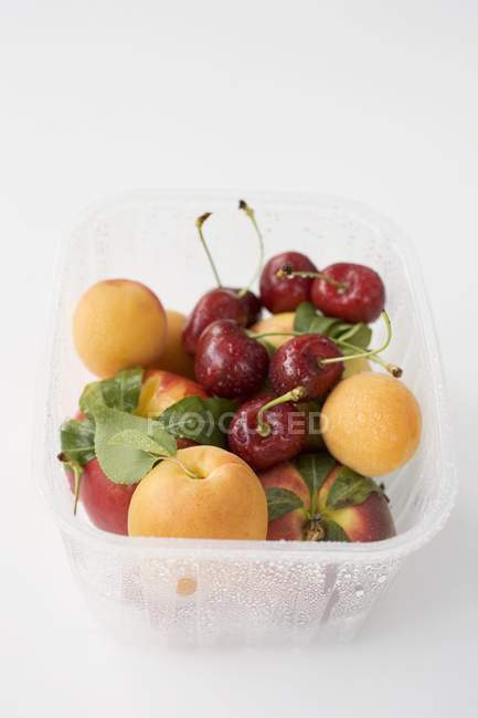 Apricots and cherries in plastic punnet — Stock Photo