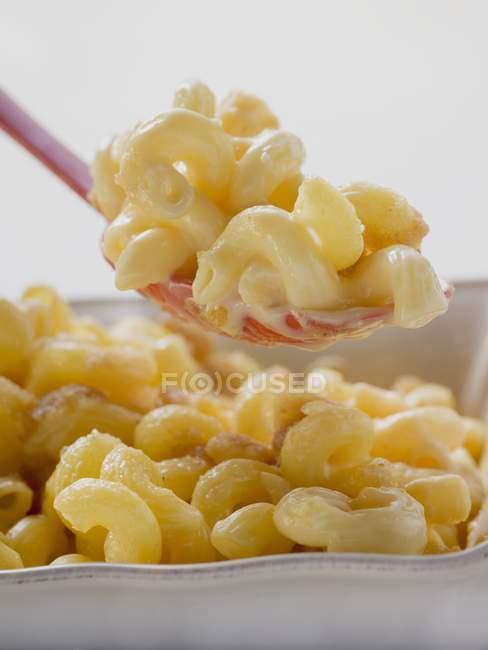 Макароны и сыр в миску — стоковое фото