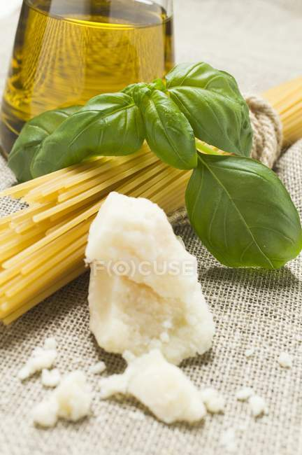 Spaghetti and Parmesan on fabric — Stock Photo