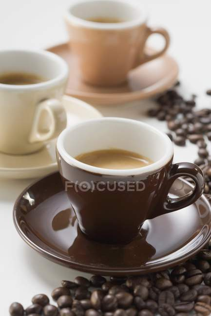 Colorful cups of espresso — Stock Photo