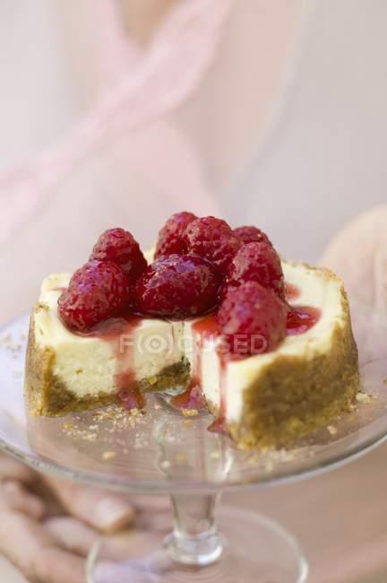 Mini-cheesecake with raspberries — Stock Photo