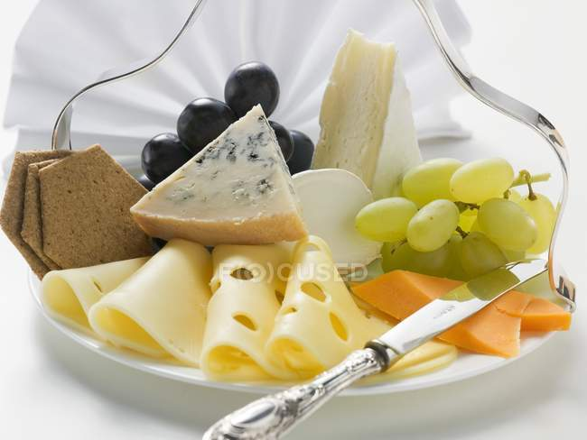 Cheese platter with grapes — Stock Photo