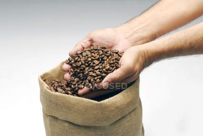 Мужские руки с кофейными зёрнами — стоковое фото