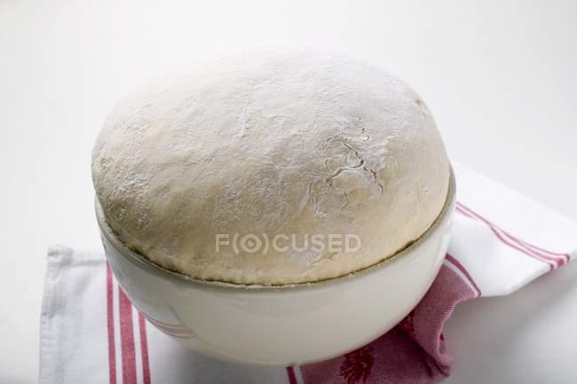 Closeup view of fresh yeast dough in a bowl — Stock Photo