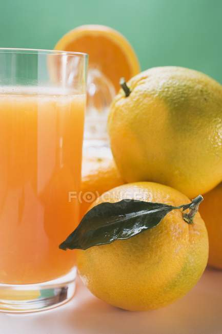 Copo de suco fresco com laranjas — Fotografia de Stock